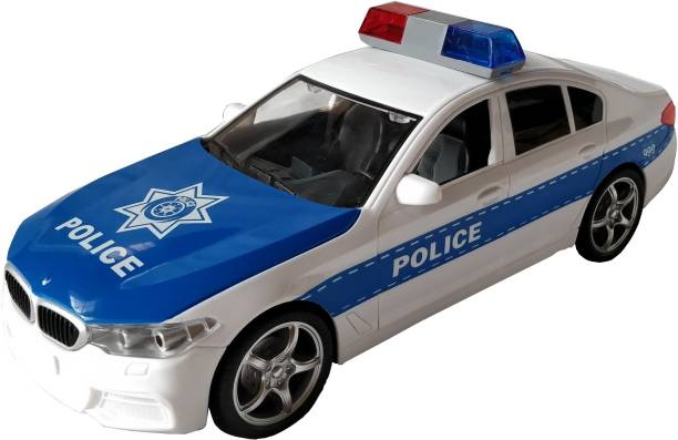 IndusBay Friction Powered Police Car 1:16 Kids Plastic Toy Rescue Emergency Cop Vehicle with Lights and Siren Sound Effects and Openable Doors - White