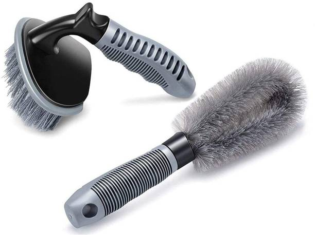 Auto Hub Car Tyre Cleaning Brush and Alloy Cleaning Brush 2 ml Wheel Tire Cleaner
