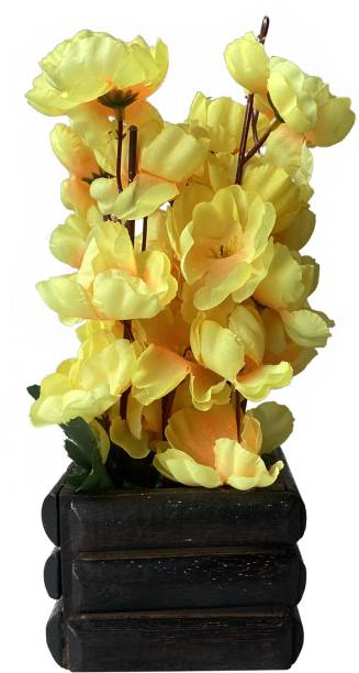 Ryme Yellow Orchids Artificial Flower  with Pot
