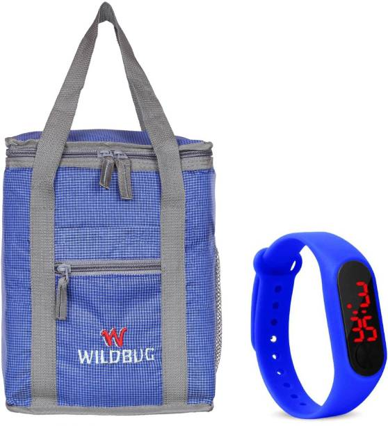 wildbug Combo Offer Lunch Bags Branded Premium Quality Carry on Tote for School Office Picnic Travel Camping Outdoor Pouch Holder Handbag Compact Heat Preservation Waterproof Hygiene Meal Prep Box Bag for Men Women and Kids, Color Small Travel Bag - midam sized (Nursery/Play School) Lunch Bag and Digital Led Watch For Boys and Girls Waterproof Lunch Bag