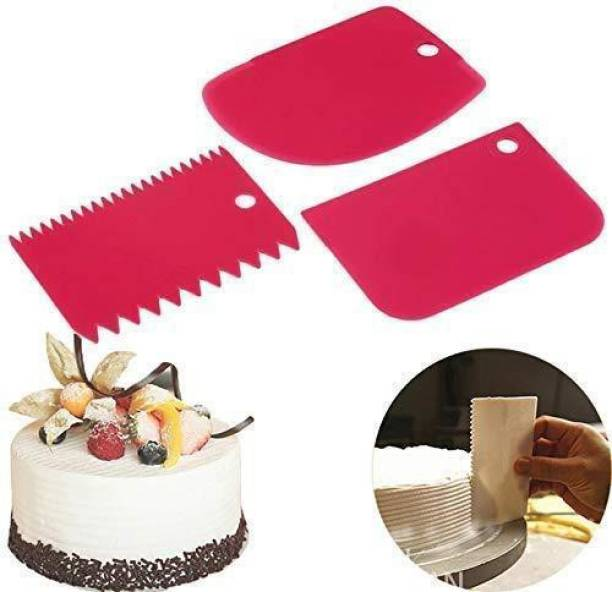 IKIS 3 Pcs Set Plastic Dough Bench Cake Scrapper Cutter Smoother Edge Dough Cutter Icing Fondant Cake Decorating Tools Baking Comb (Plastic Pack of 3) Baking Comb