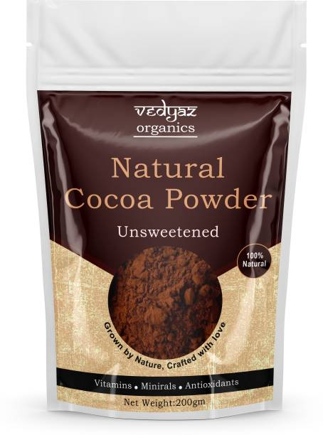 Vedyaz Organic Cocoa Powder - 200gm - 100% Natural and Unsweetened Cocoa Powder