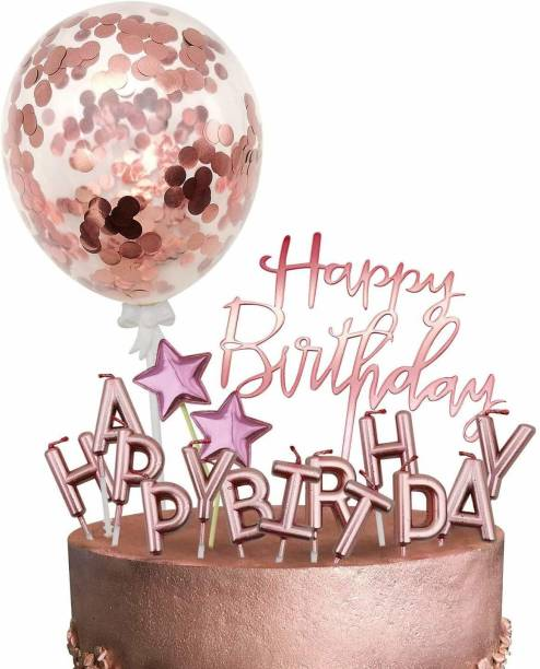 Party Propz Rose Gold Cake Decoration Kit - Happy Birthday Candles, Happy Birthday Banner, Confetti Balloon, Stars Cake Topper for Girl Kid Women Birthday Theme Decor Cake Topper