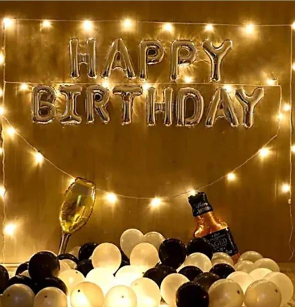 HBD Printed Happy Birthday kit 30 Black and White Balloons combo with Golden Happy Birthday Foil Balloons and 1 Bottle and 1 Glass Foil Balloon Jumbo Size and Light 9 meter Letter Balloon
