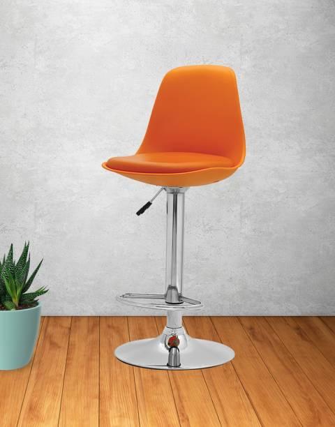 Aaron Genesis Bar Chair Kitchen Stool | Orange Synthetic Fiber Bar Stool