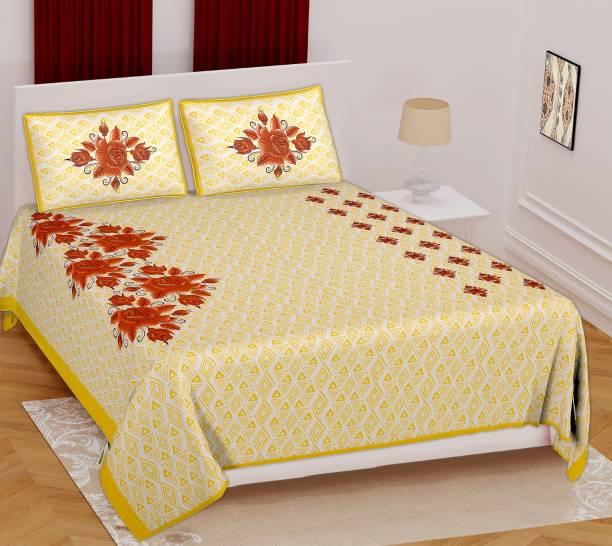 Pink City 280 TC Cotton Double Jaipuri Prints Bedsheet