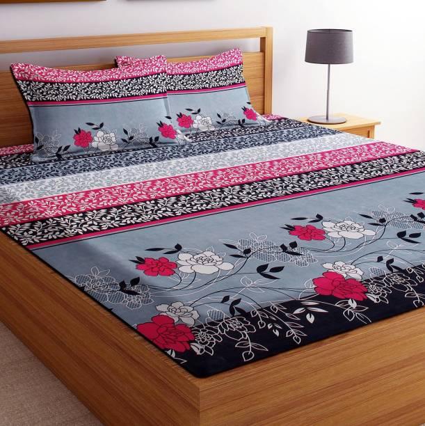VAS Collection 144 TC Cotton Double Floral Bedsheet