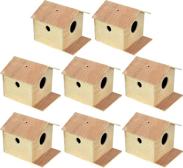 VARASANI TRADERS Bird House/Nest Box for Sparrow, Squirrel, Small Birds Best Gift for Kids, Bird House Nest Boxes for Sparrow, Finches, Pet Bird House for Birds set of 8 Bird House