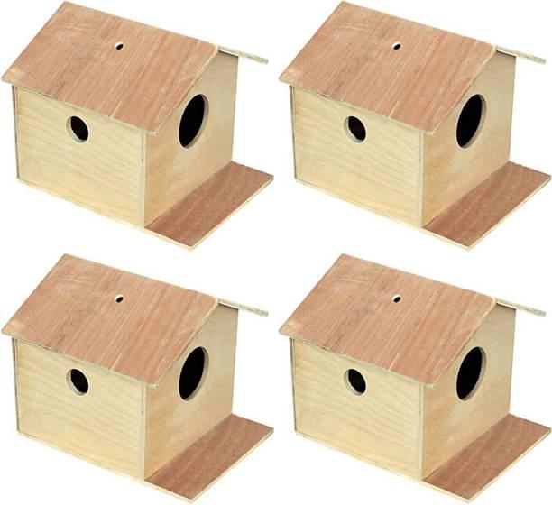 VARASANI TRADERS Bird House/Nest Box for Sparrow, Squirrel, Small Birds Best Gift for Kids, Bird House Nest Boxes for Sparrow, Finches, Pet Bird House for Birds set of 4 Bird House