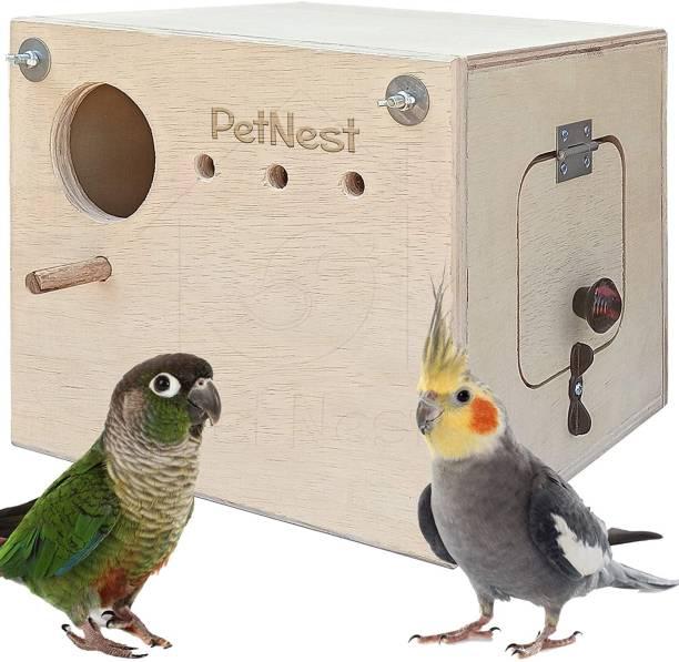 PetNest Breeding Box Bird Nest with Perch for Cockatiel Bird Standard (Horizontle) Bird House
