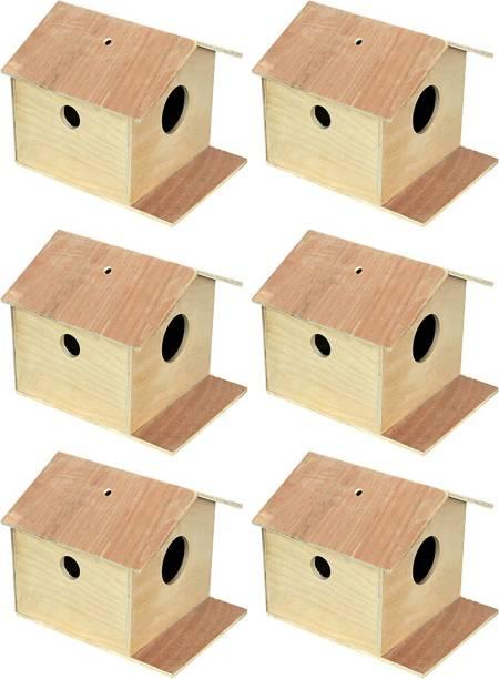 VARASANI TRADERS Bird House/Nest Box for Sparrow, Squirrel, Small Birds Best Gift for Kids, Bird House Nest Boxes for Sparrow, Finches, Pet Bird House for Birds set of 6 Bird House