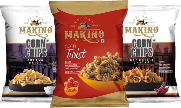 MAKINO Corn Chips & Twist (Cream & Onion, Red Chilli Chatka, Tomato)(Each 100 g)(Pack of 3) Chips