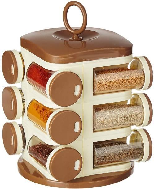 Trikhani Revolving Spice Rack Set (12 pieces, Light Brown) 12 Piece Salt & Pepper Set