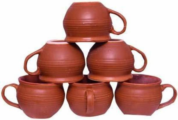 THE SD STORE Pack of 6 Terracotta Pack of 6 Ceramic Ceramic Solid Multi with Wooden shade Printed Tea Cup/kulhad Set with Handle set of 6 kulhad