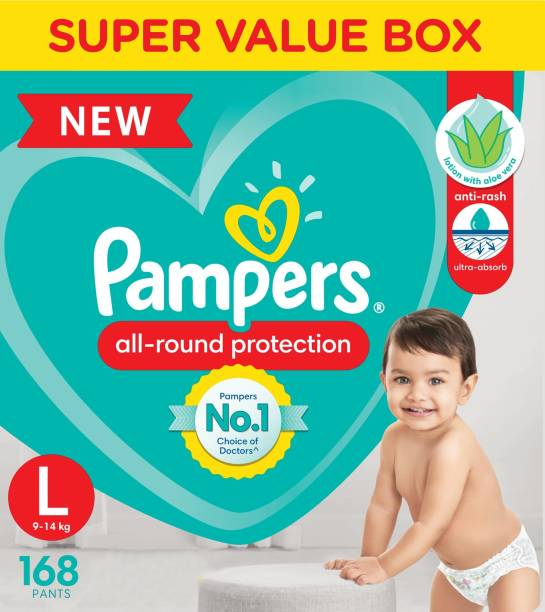 Pampers Diaper Pants Super Value Box Pack with Aloe Vera lotion - L