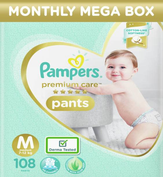 Pampers Premium Pants Monthly Box Pack Cotton like soft Diapers with Wetness Indicator - M
