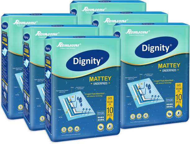 DIGNITY Mattey Disposable Underpads, 60x90 cm, Pack of 6, 60 Pcs Adult Diapers - L
