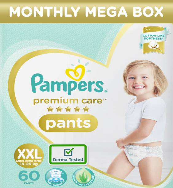 Pampers Premium Monthly Box Pack Cotton like soft Diapers with Wetness Indicator - XXL