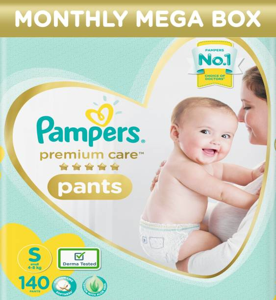 Pampers Premium Monthly Box Pack Cotton like soft Diapers with Wetness Indicator - S