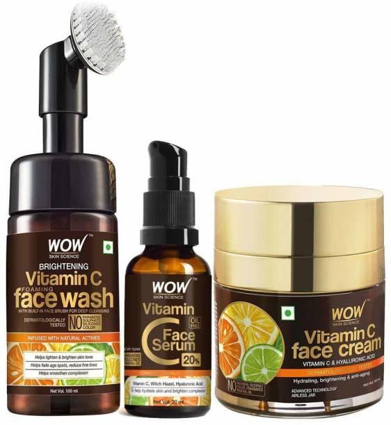 WOW SKIN SCIENCE Vitamin C Face Ultimate 3 Kit with (Vitamin C Face Wash - Built In Brush + Vitamin C Serum + Vitamin Face Cream) - 180mL
