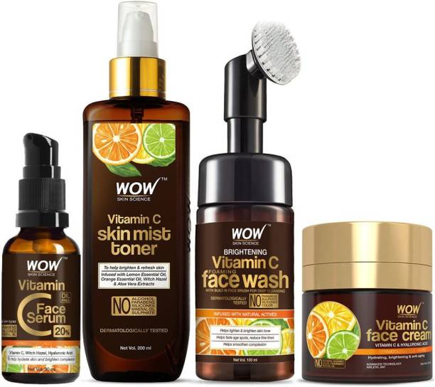 WOW SKIN SCIENCE Ultimate Vitamin C Skin Care Kit - consists Vitamin C Face Wash brush, Mist Toner, Face Serum, Face Cream - 380mL