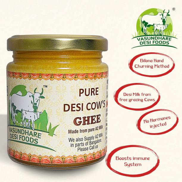 vasundhare Desi Ghee/A2 Vedic Ghee, Made From Desi Cow's Milk by Traditional Hand Churning Bilona Method Ghee 200 ML Mason Jar Ghee 200 ml Mason Jar