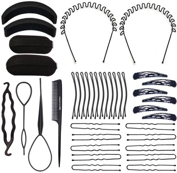 One Personal Care Zigzag Hair Band + Pony/Braid Maker + Comb + Volumizer + Bump It Tool + Tic Tac, Side pin & U-Pin Set (Combo of 38) Hair Accessory Set