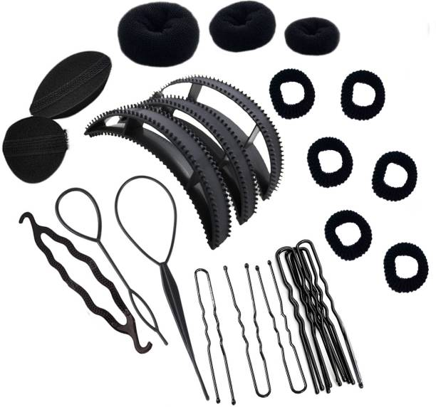 One Personal Care Donut + Pony/Braid Maker + Volumizer Bump It Tool + Rubber bands + U-Pin Set + Juda (Combo of 25) Hair Accessory Set