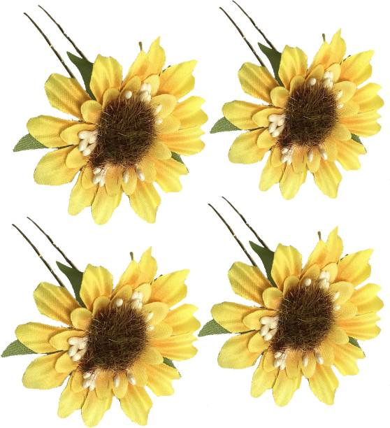 GadinFashion ™ Set Of 4 Pcs Flower Style Hair Juda Pins For Hair Styling And Bun Decoration Accessories Pins Gajra for Women and Girls Color-Yellow Hair Pin