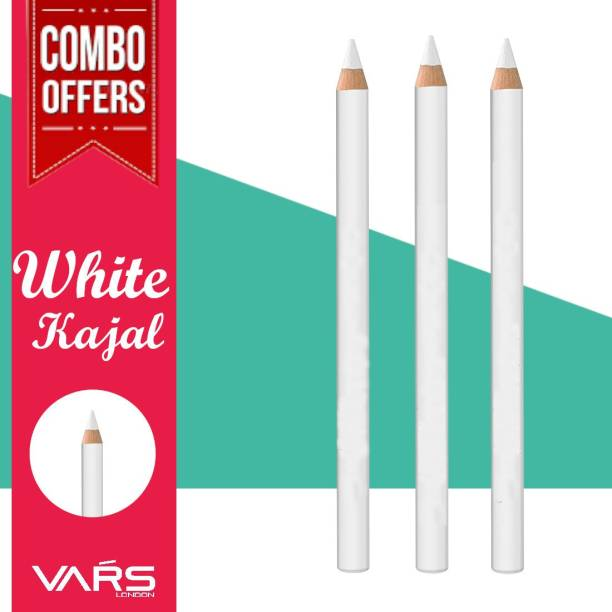 VARS LONDON MRS white kajal pecil combo pack|white kajal combo pack|white kajal eyeliner|white khol kajal pencil|white kohl kajal