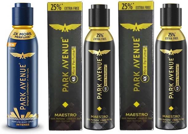 PARK AVENUE 25% EXTRA FREE 4x More Perfume Spray with Good Morning Body Spray 1 INTENSE Perfume Body Spray + 2 MAESTRO Perfume 150ml × 3 Pack Of 3 Eau de Parfum  -  300 ml
