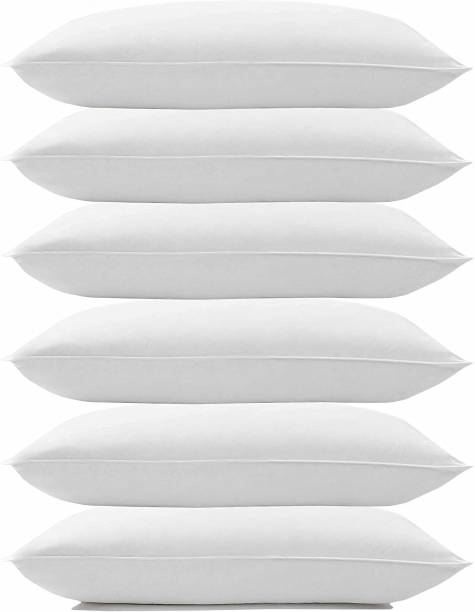 SK COMFORTS WHITE SOFT COMFORT PILLOW Cotton Solid Sleeping Pillow Pack of 6