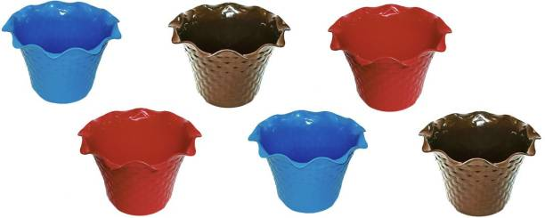 Inside Styles Combo Pack of 6 Pcs Decorative Flower Plant Pots for Indoor and Outdoor Plant Container Set [Diameter 7 Inches, Height 5 Inches] Plant Container Set