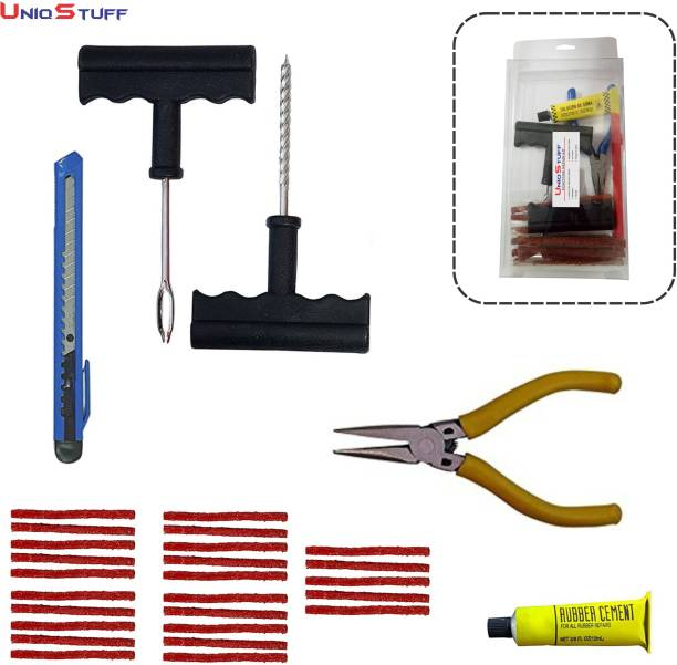 uniqstuff Vehicle Emergency Tubeless Tire Tyre Puncture Repair Tool Kit Set of 6 for Car Motorcycle Bike & Vehicle with Puncture Repair Strip Tubeless Tyre Puncture Repair Kit
