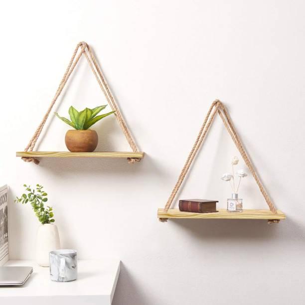 VAH 2 Set of Real pine Wooden Wall Shelf