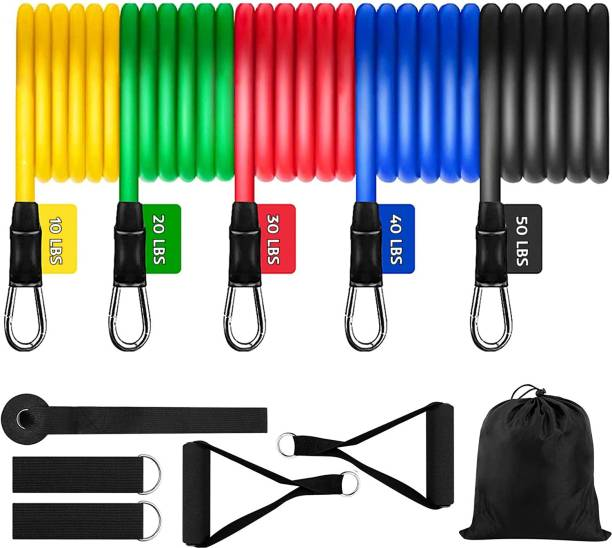 iSweven Home Gym Body Training Equipment Men Women 11 pc Exercise Workout Bands 150lbs Home Gym Kit