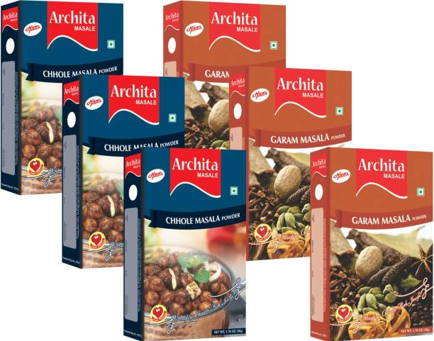 Archita Garam Masala Powder(50g x 3) & Chhole Masala Powder(50g x 3) Pack of 6