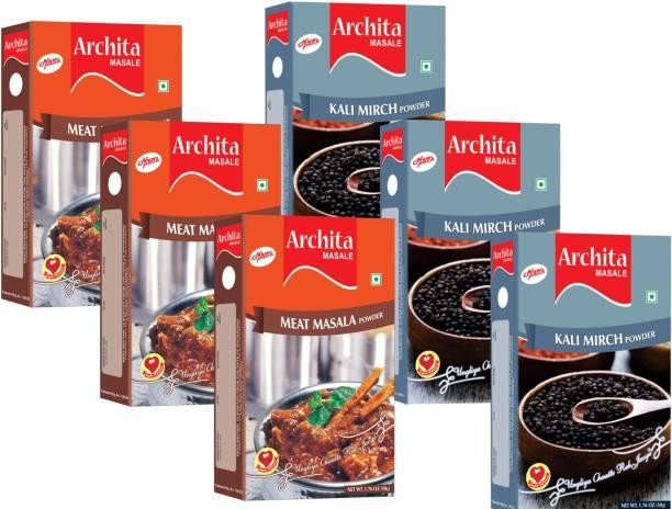 Archita Kali Mirch Powder(50g x 3) & Meat Masala Powder(50g x 3) Pack of 6
