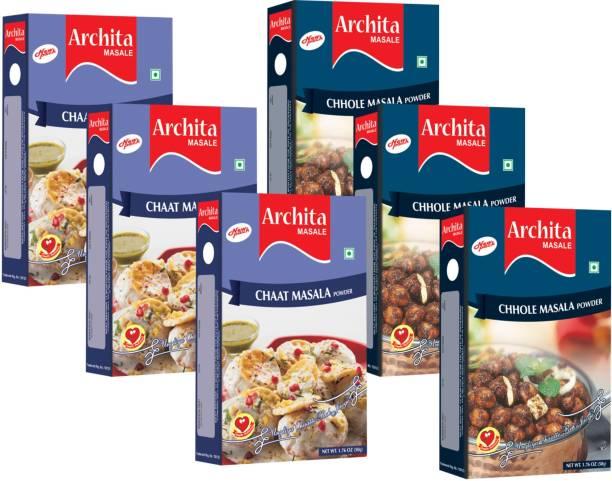 Archita Chaat Masala Powder(50g x 3) & Chhole Masala Powder(50g x 3) Pack of 6