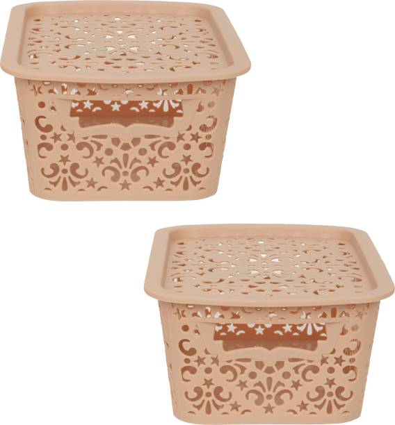 Cutting EDGE Small Turkish Baskets Small with Lid for Kitchen   Office   Pen   Pencil   Colours Utility   Cosmetics   Accessories   Closet   Wardrobe - Beige   Set of 2 Storage Basket