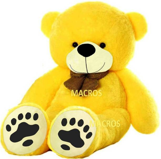 Macros 3 Feet Yellow Premium Quality Teddy Bear (Doll) Specially Designed with Foot Print (Panje wala).  - 90 cm