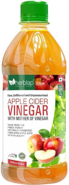 herblap Apple Cider Vinegar with Mother Vinegar, Raw, Unfiltered and Unpasteurized for weight loss management - 500 ml Vinegar