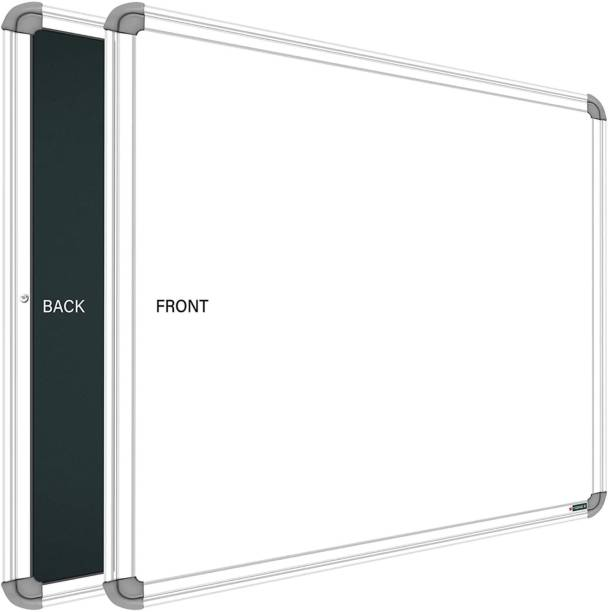 SRIRATNA Non Magnetic Glossy 2 X 2 feet Glossy White Board, One Side White Board Marker and Reverse Side Green Chalk Board Surface Whiteboards