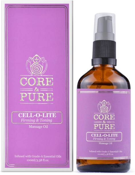 CORE & PURE Cell-O-Lite Massage Oil- Helps in Anti-Cellulite, Toning, Slimming & Weight Loss  Natural Essential Oils Infused, Ayurvedic -