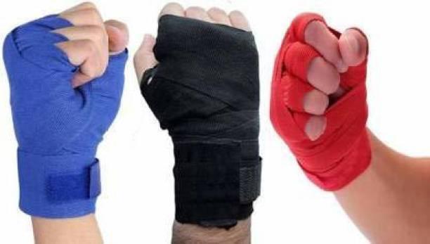Leosportz Stretchable cotton Boxing Hand Wraps Black, Red, Blue Boxing Hand Wrap
