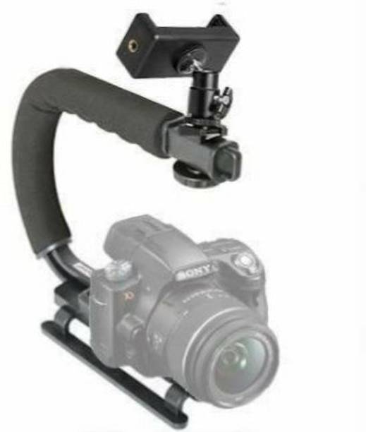 BOOSTY 3 in1 Universal Stabilizer C-Shape Bracket Video Handheld Grip + Ball Head hot Shoe Adapter and Mobile Phone Clip Holder Camera Rig