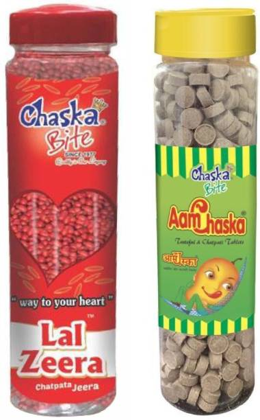 CHASKA BITE  Aam Chaska Lal Jeera Sweet and Tangy Candies Sour Khatti Meethi Goli Pack of 2 2 x 200 gm (500gm Each) DRY MANGO, SWEET AND SOUR Candy