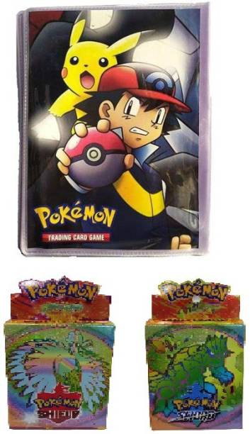 CrazyBuy Pokemon 50 Pages Album With Pokemon Shield & Sword Latest Edition EX ,GX TAG TEAM And Basics Cards