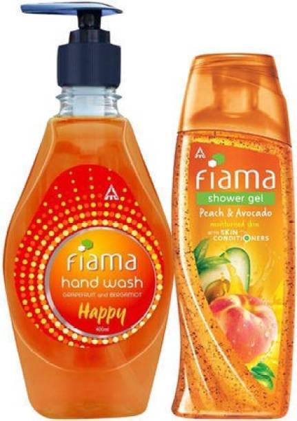 Fiama Peach & Avocado Shower Gel 250ml with Happy Moisturising hand wash 400ml
