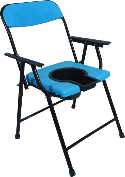 RADIANT TRADERS Foldable Commode & Showert Chairs With Pot (Blue) Commode Chair